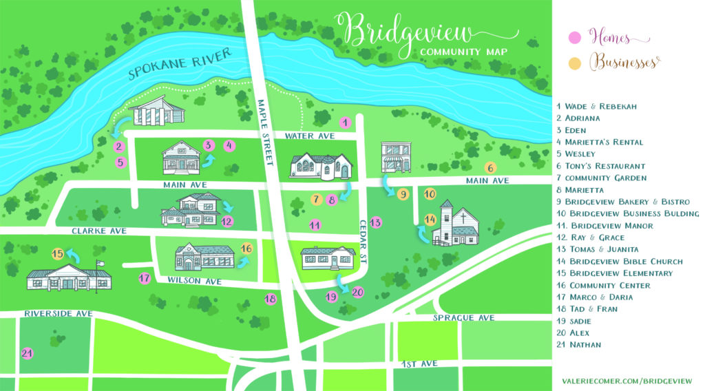 urban farm fresh romance, map of bridgeview, spokane washington