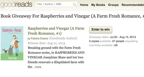Goodreads, giveaway, Raspberries and Vinegar, Valerie Comer