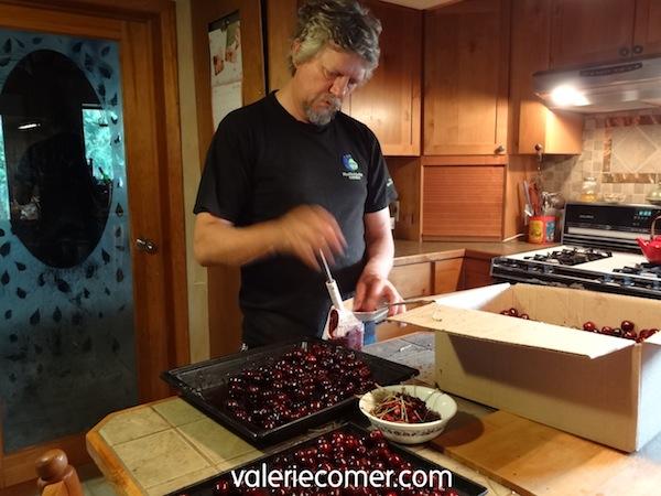 cherries, pitting cherries, frozen cherries
