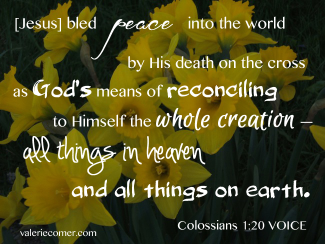 colossians 1:20, creation care, reconciliation, good friday, easter
