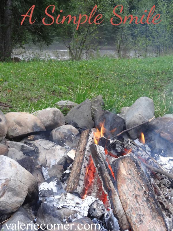 campfire, creek, camping,