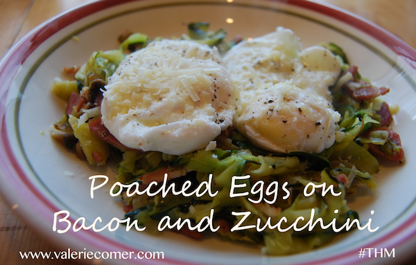 Poached Eggs on Bacon and Zucchini