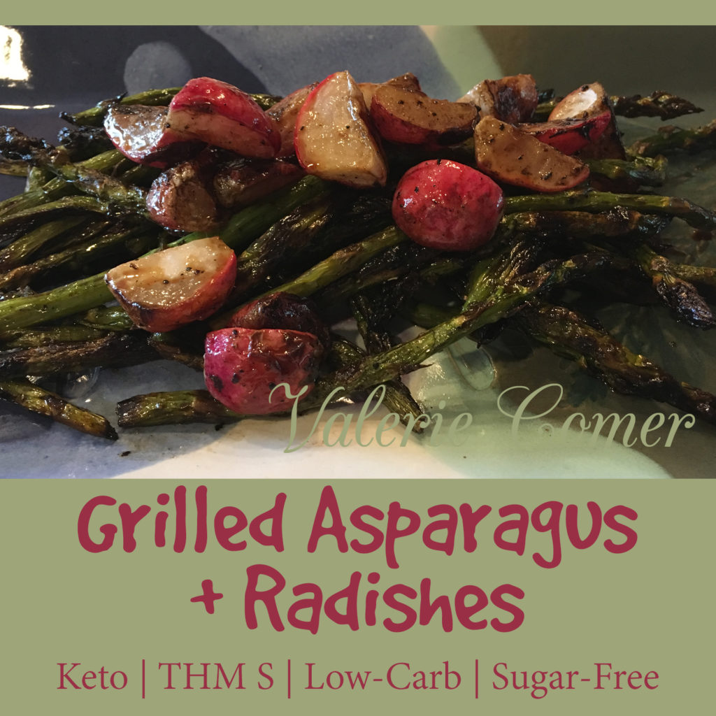 Grilled Asparagus, grilled radishes, thm s, trim healthy mama, sugar free, low carb
